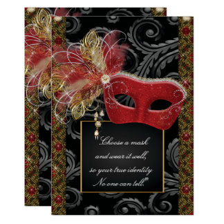 Masquerade Sweet 16 Party, Mis Quince Anos Card