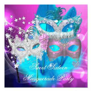 Masquerade Sweet 16 Pink Purple Teal Mask Card