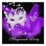 Masquerade Sweet 16 Purple Black Feather Mask Invitations