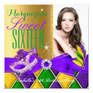 Masquerade Sweet 16 Purple Green Gold Card