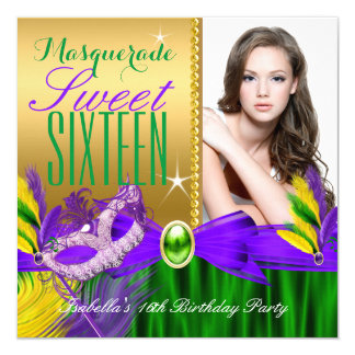 Masquerade Sweet 16 Purple Green Gold Feather Mask Card