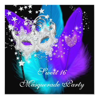 Masquerade Sweet 16 Purple Teal Black Feather Mask Card