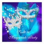Masquerade Sweet 16 Purple Teal Blue Mask 5.25x5.25 Square Paper Invitation Card