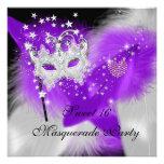 Masquerade Sweet 16 Purple White Feather Mask Custom Invite
