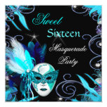 Masquerade Sweet 16 Sixteen Teal Blue Mask Party Invite