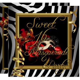 Masquerade Sweet 16 Sweet Sixteen Zebra Red Card