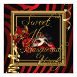 "Masquerade Sweet 16 Sweet Sixteen Zebra Red 5.25"" Square Invitation Card"