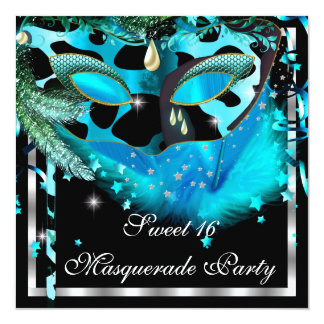 """Masquerade Sweet 16 Teal Black Feather Mask 3 5.25"""" Square Invitation Card"""