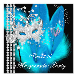 Masquerade Sweet 16 Teal Black Feather Mask Personalized Announcement