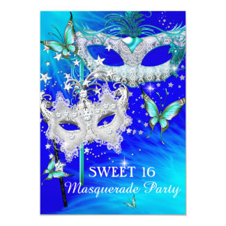 Masquerade Sweet 16 Teal Blue Diamond Mask Card