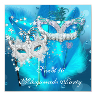 Masquerade Sweet 16 Teal Blue Feather Mask 3 Card
