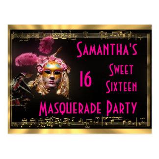 Masquerade sweet sixteen invitation postcard