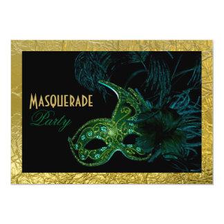 Masquerade Sweet Sixteen party black, green, gold Card