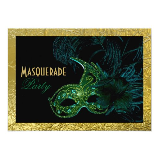 Masquerade Sweet Sixteen party black, green, gold Card
