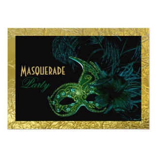 Masquerade Sweet Sixteen party black, green, gold 5x7 Paper Invitation Card