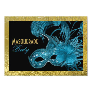 """Masquerade Sweet Sixteen party blue, gold foil 5"""" X 7"""" Invitation Card"""