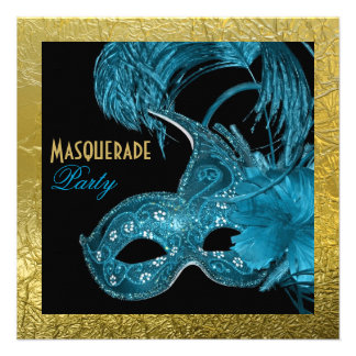 Masquerade Sweet Sixteen party blue gold foil Invites