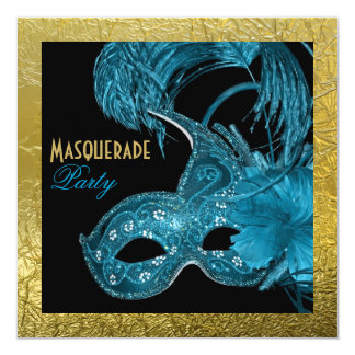 Masquerade Sweet Sixteen party blue, gold foil 5.25x5.25 Square Paper Invitation Card