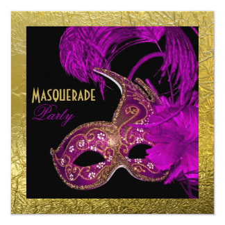 Masquerade Sweet Sixteen party purple gold foil Card