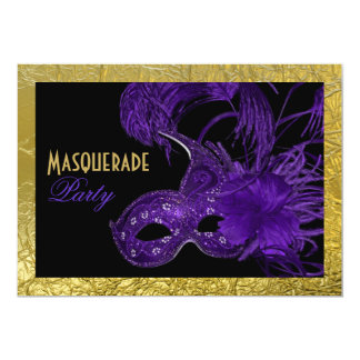 Masquerade Sweet Sixteen party purple, gold foil Card