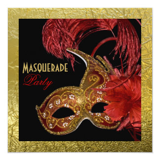 Masquerade Sweet Sixteen party red, faux gold foil Card