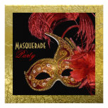 Masquerade Sweet Sixteen party red, faux gold foil Custom Announcements