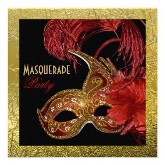 Masquerade Sweet Sixteen party red faux gold foil Custom Announcements