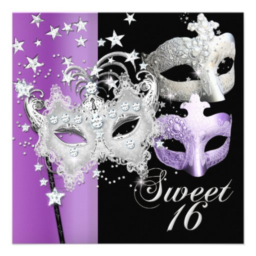 masquerade sweet sixteen sweet 16 lilac black 525quot square