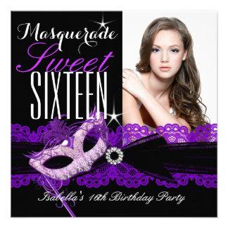 Masquerade Sweet Sixteen Sweet 16 Purple Black Invite