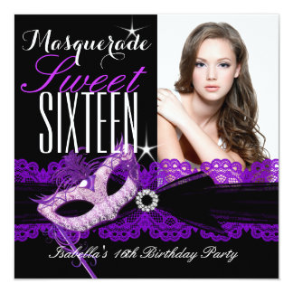 "Masquerade Sweet Sixteen Sweet 16 Purple Black 5.25"" Square Invitation Card"