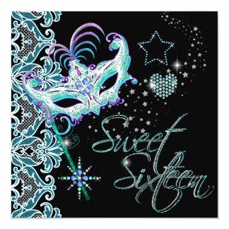 Masquerade Sweet Sixteen Sweet 16 Teal Black Card
