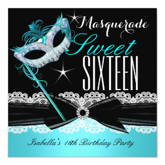 Masquerade Sweet Sixteen Sweet 16 Teal Blue 3 Card