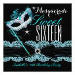 Masquerade Sweet Sixteen Sweet 16 Teal Blue Announcement