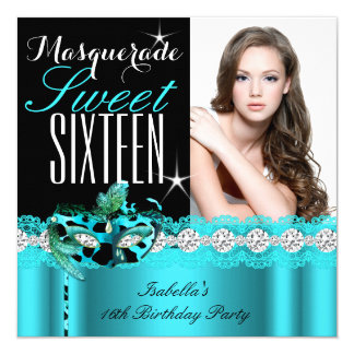 Masquerade Sweet Sixteen Sweet 16 Teal photo 2 5.25x5.25 Square Paper Invitation Card