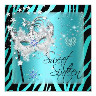 "Masquerade Sweet Sixteen Sweet 16 Teal Zebra 5.25"" Square Invitation Card"