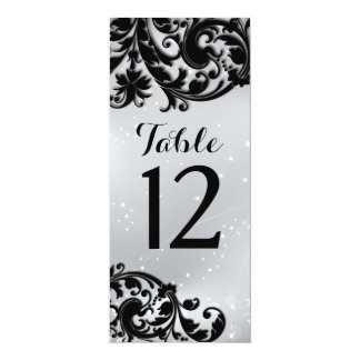 "Masquerade Table Number Card 4"" X 9.25"" Invitation Card"