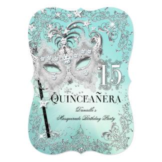 Masquerade Teal Silver Quinceanera Birthday Invite
