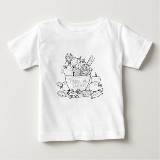 Masquerade Trick Or Treat Bowl Line Art Design Baby T-Shirt