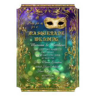 Masquerade Wedding Antique Vintage Mask Bokeh Gold 5x7 Paper Invitation Card