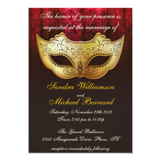 "Masquerade Wedding Celebration Fancy Invitation 5"" X 7"" Invitation Card"