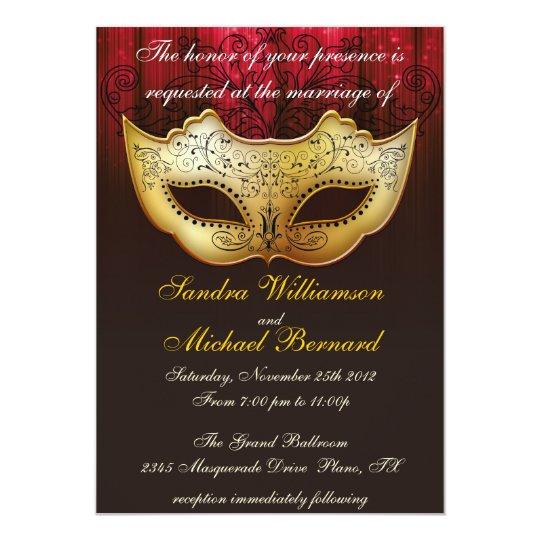 masquerade wedding celebration fancy invitation | zazzle, Wedding invitations