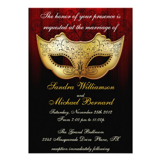 Masquerade Wedding Celebration Fancy Invitation