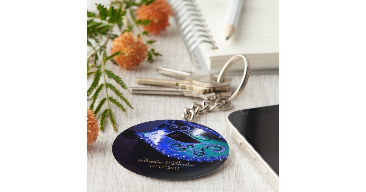 Masquerade Wedding Favor Blue Keychain Zazzle