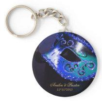 Masquerade Wedding Favor Blue Keychain