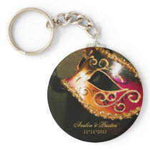 Masquerade Wedding Favor Gold Keychain