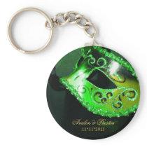 Masquerade Wedding Favor Green Keychain