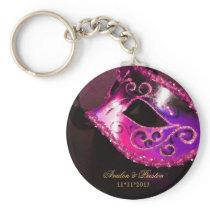 Masquerade Wedding Favor Pink Keychain