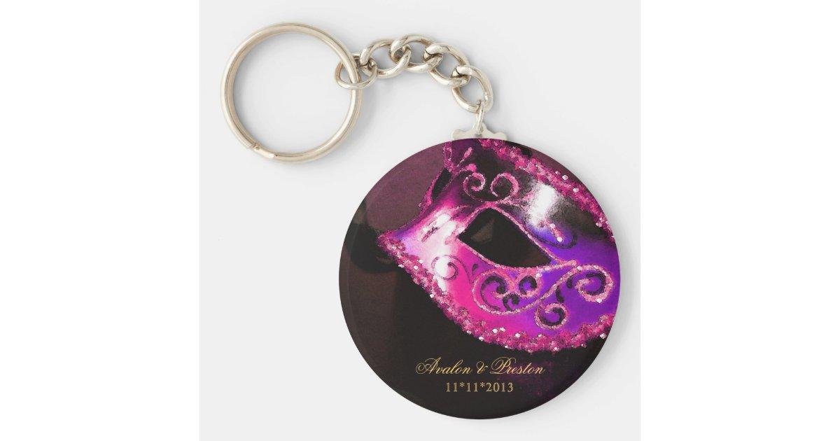 Masquerade Wedding Favor Pink Keychain Zazzle