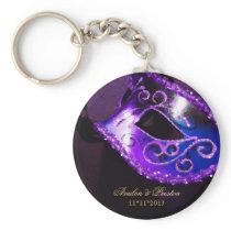 Masquerade Wedding Favor Purple Keychain