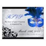 "Masquerade Wedding RSVP Cards 4.25"" X 5.5"" Invitation Card"